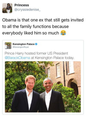 Dating, Family, and Obama: Princess  @cryssiedenise  Obama is that one ex that still gets invited  to all the family functions because  everybody liked him so much  Kensington Palace  @KensingtonRoyal  Prince Harry hosted former US President  @BarackObama at Kensington Palace today catalystindigo:  tastefullyoffensive: (via cryssiedenise_) #He's the ex that your family wishes you were still dating#Because your current one is trash
