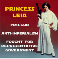PRINCESS  LEIA  PRO-GUN  ANTI IMPERIALISM  FOUGHT FOR  REPRESENTATIVE  GOVERNMENT Will she be CG'd in the next SW episode?