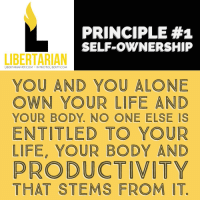 PRINCIPLE #1  SELF-OWNERSHIP  LIBERTARIAN  LIBERTARIAN 101.COM INTROTOLIBERTY.COM  YOU AND YOU ALONE  OWN YOUR LIFE AND  YOUR BODY, NO ONE ELSE IS  ENTITLED TO YOUR  LIFE, YOUR BODY AND  PRODUCTIVITY  THAT STEMS FROM IT