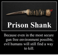 Share if you agree!: Prison Shank  Because even in the most secure  gun free environment possible,  evil humans will still find a way  to kill. Share if you agree!