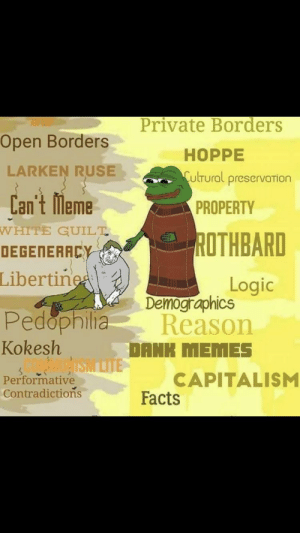 Welcome, newcomers. We've been expecting you.: Private Borders  Open Borders  HOPPE  ulrural preservarion  LARKEN RUSE  Can't lMlemePROPERTY  DEGERERREY ROTHBARD  WHITE GUILT  Libertine  Logic  Demographics  PedophiliaReason  Kokesh  DANK MEMES  Performative  Contradictions  CAPITALISM  Facts Welcome, newcomers. We've been expecting you.