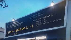 This probably doesnt entirely fit, but I found this at a coffee shop in GTA V (sorry for the mediocre quality): private int hread,  private int bacon  package java.cappuccino,  irport java.shot.milk.foam;  public class Breakfast extends Meal f  private double espresso  public void sandwich () f  bread = 2;  ava.upaa℃e( )  bacon2  return bread + bacon  COFFEESH0 P This probably doesnt entirely fit, but I found this at a coffee shop in GTA V (sorry for the mediocre quality)