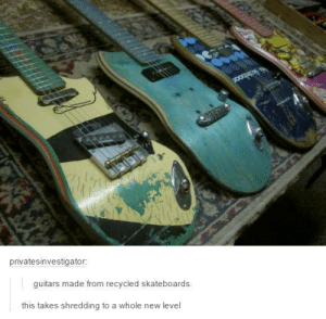 Skateboard Guitars: privatesinvestigator:  guitars made from recycled skateboards.  this takes shredding to a whole new level Skateboard Guitars