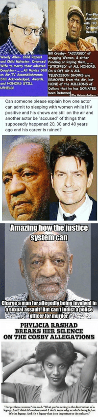 """Not saying BillCosby is innocent... but these points are valid!!!: Pro-Bla  Activist  with NO  Record.  Bill Crosby- """"ACCUSED"""" of  Woody Allen-Child Rapest drugging Women, & either  and Child Molester, Divorced Fondling or Raping them,,,,,,  Wife to marry their adopted """"STRIPPED"""" of ALL HONORS,  Daughter  All Movies Still On & Off Air & ALL  on Air, TV Accomblishments ON SHOWS are  Still Acknowledged, Awards, REMOVED from the Air, but  and HONORS STILL  NONE of the MILLIONS of  UPHELDI  Dollars that he has DONATED  been Returned  eThe Melealn Goddess,   Can someone please explain how one actor  can admit to sleeping with women while HIV  positive and his shows are still on the air and  another actor be """"accused"""" of things that  supposedly happened 20, 30 and 40 years  ago and his career is ruined?   Amazing how the justice  system Can  Chargeamanfor allegedly being involved in  asexual assault! But cantindict a police  Officer for murder   PHYLICIA RASHAD  BREAKS HER SILENCE  ON THE COSBY ALLEGATIONS  """"Forget these women,"""" she said. What you're seeing is the destruction ofa  legacy. And I think it's orchestrated. I don't know why or who's doing it, but  it's the legacy. And it's alegacy that is so important to the culture."""" Not saying BillCosby is innocent... but these points are valid!!!"""
