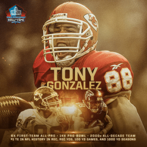 Your favorite tight end's favorite tight end.  Welcome to Canton, Tony. #PFHOF19 @TonyGonzalez88 https://t.co/9vu7qqVkal: PRO F 0OTBALL  Riddel  HALLOF FAME  ANTON, ONIg  ndd  TONY  GONZALEZ  98  dce  Ridda  ROIDon  6X FIRST-TEAM ALL-PRO  14 X PRO BOWL  #1 TE IN NFL HISTORY IN REC, REC YDS, 100 YD GAMES, AND 1000 YD SEASONS  2000s ALL-DECADE TEAM Your favorite tight end's favorite tight end.  Welcome to Canton, Tony. #PFHOF19 @TonyGonzalez88 https://t.co/9vu7qqVkal