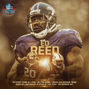 House call straight to the Hall. 🏠📞 #PFHOF19 @TwentyER https://t.co/0iEgah8UaB: PRO F OOTBALL  HALLOFFAME  KAVENS  ANTON ONIR  RA  UPMET  REED  20  5X FIRST-TEAM ALL-PRO 9X PRO-BOWL 2000s ALL-DECADE TEAM  2004 NFL DEFENSIVE PLAYER OF THE YEAR 64 CAREER INT House call straight to the Hall. 🏠📞 #PFHOF19 @TwentyER https://t.co/0iEgah8UaB