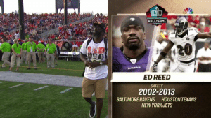 Meet the @ProFootballHOF Class of 2019! #PFHOF19 https://t.co/MM9uBelRSp: PRO FOOTBALL  HALL OF FAME  20  RAVENS  ED REED  SAFETY  2002-2013  BALTIMORE RAVENS HOUSTON TEXANS  NEW YORK JETS Meet the @ProFootballHOF Class of 2019! #PFHOF19 https://t.co/MM9uBelRSp