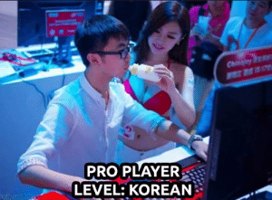 Korean, Pro, and Player: PRO PLAYER  LEVEL: KOREAN Pudiendo beber directamente de