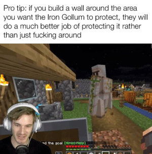 Fucking, Goal, and Good: Pro tip: if you build a wall around the area  you want the Iron Gollum to protect, they will  do a much better job of protecting it rather  than just fucking around  d the goal CHied Help You gotta put the gollums to good use pewds.