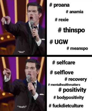 "Drake, Meme, and Tumblr:  # proana  # anama  # rexie  # thinspo  # UGw  # meanspo  ""No!""  # selfcare  # selflove  # recovery  # mentalhealthmatters  # positivity  # bodypositivity  # fuckdietculture  ""Yeah!"" positivitywithcoral:remake of an old meme I made using a new format because drake is a pedophile"