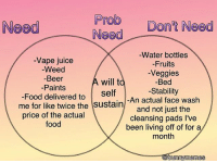 Beer, Food, and Juice: Prob  Need  Need  Water bottles  -Vape juice  Fruits  Weed  Beer  will t  Veggies  Bed  Food Paints  self  delivered to  Stability  An actual face wash  me for like twice the  sustain  and not just the  price of the actual  cleansing pads l've  food  been living off of for a  month  bunny meme I'm making a zine about sex and trauma and sexuality and stuff and it should be finished pretty soon. Would you guys be into that or