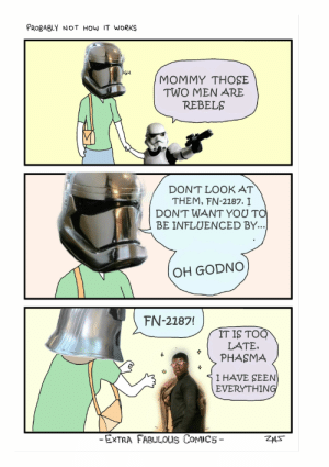 Meme, Mom, and Comics: PROBABLY NOT HOW IT WORKS  UGH  MOMMY THOSE  TWO MEN ARE  REBELS  DON'T LOOK AT  THEM, FN-2187. I  DON'T WANT YOU TO  BE INFLUENCED BY...  OH GODNO  FN-2187!  IT IS TOQ  LATE,  PHASMA  I HAVE SEEN)  EVERYTHING  -EXTRA FABULOUS COMICS  ZAS Look mom, the rebels!   Don't Look at Them Ricky!   Know Your Meme