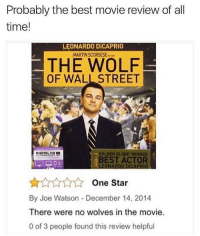 Lmfao 😂😂😂😂💀💀: Probably the best movie review of all  time!  LEONARDO DiCAPRIO  MARTIN SCORSESE  THE WOLF  OF WALL STREET  a GOLDEN GLOBE WINNER  BEST ACTOR  LEONARDO DÍCAPRIO  One Star  By Joe Watson December 14, 2014  There were no wolves in the movie  0 of 3 people found this review helpful Lmfao 😂😂😂😂💀💀