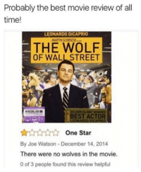 wall street: Probably the best movie review of all  time!  LEONARDO DİCAPRIO  THE WOLF  OF WALL STREET  OOLDEN GLOBE WINNER  BEST ACTOR  LEONARDO DICAPRIO  One Star  By Joe Watson-December 14, 2014  There were no wolves in the movie.  0 of 3 people found this review helpful