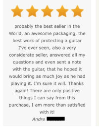 """<p>Sold one of my guitars recently, got some wholesome feedback :) via /r/wholesomememes <a href=""""http://ift.tt/2mnskxb"""">http://ift.tt/2mnskxb</a></p>: probably the best seller in the  World, an awesome packaging, the  best work of protecting a guitar  I've ever seen, also a very  considerate seller, answered all my  questions and even sent a note  with the guitar, that he hoped it  would bring as much joy as he had  playing it. I'm sure it will. Thanks  again! There are only positive  things I can say from this  purchase, I am more than satisfied  with it!  Andre <p>Sold one of my guitars recently, got some wholesome feedback :) via /r/wholesomememes <a href=""""http://ift.tt/2mnskxb"""">http://ift.tt/2mnskxb</a></p>"""