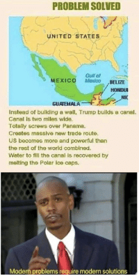 Instead of a wall, let's get Trump to build a canal: PROBLEM SOLVED  UNITED STATES  Gulf of  MEXICO Mexico BELIZE  HONDUI  GUATEHALA  Instead of building a wall, Trump builds a canel.  Canal is two miles wide  Totally screws over Panama.  Creates massive new trade route.  US becomes more and powerful than  the rest of the world combined.  Water to fill the canal is recovered by  melting the Polar ice caps.  Modern problems require modern solutions Instead of a wall, let's get Trump to build a canal