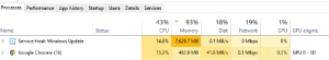 Chrome, Google, and Windows: Processes Performance App history Startup Users Details Services  43%  93%  18%  19%  1%  Name  GPU engine  Status  CPU  Memory  Disk  Network  GPU  O Mbps  Service Host: Windows Update  0%  14.8%  7,629.7 MB  0.1 MB/s  41.9 MB/s  0.1 Mbps  Google Chrome (16)  15.3%  482.9 MB  0.1%  GPU 0 3D Chrome: aM i a joKE tO YoU?