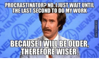 Memes, Procrastination, and 🤖: PROCRASTINATOR? NO.IJUST WAIT UNTIL  THE LAST DO MY WORK  BECAUSE IWILL BE OLDER,  THEREFORE WISER. When People Complain About My Procrastination http://www.damnlol.com/when-people-complain-about-my-procrastination-77545.html