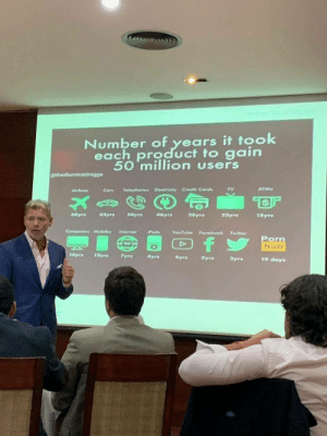 Time taken for each product to reach 50M users.: Profesor Rafal Dla Cru  Number of years it took  each product to gain  50 million users  C@theilluminatinigga  ATMs  TV  Telephones Electricity Credit Cards  Airlines  Cor  50yrs  68yrs  62yrs  46yrs  28yrs  22yrs  18yrs  Computers Mobiles  Internet  iPods  YouTube Facobook  Twiter  Porn  hub  f  www  A  14yrs  12yrs  7yrs  4yrs  4yrs  Syrs  2yrs  19 days Time taken for each product to reach 50M users.