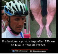 Memes, Tour De France, and France: Professional cyclist's legs after 250 km  on bike in Tour de France.  /didyouknowpagel  Cu  @didyouknowpage