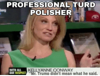 "-Preston: PROFESSIONAL TURD  POLISHER  KELLY ANNE CONWAY  WITH ALL  DUE RESPECT  ""Mr. Trump didn't mean what he said. -Preston"
