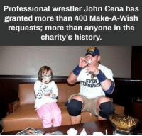 John Cena, Love, and History: Professional wrestler John Cena has  granted more than 400 Make-A-Wish  requests; more than anyone in the  charity's history  EVEN  RONGE Love for John Cena ❤️❤️❤️ via /r/wholesomememes http://bit.ly/2DLaRZN