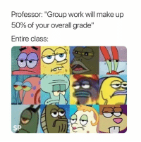 """Work, Class, and Group: Professor: """"Group work will make up  50% of your overall grade""""  Entire class:  SP 😐"""