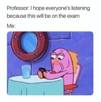 Funny, Hope, and Will: Professor: I hope everyone's listening  because this will be on the exam  Me: