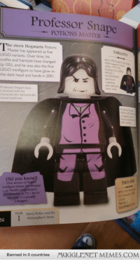 """Bailey Jay, Harry Potter, and Head: Professor Snape  POTIONS MASTER  he stern Hogwarts Potions  VARIANTS  Master has appeared as five  LEGO variants. Over time, his  outfits and hairstyle have changed  (p. 105), and he was also the first  LEGO minifigure to have glow-in  the-dark head and hands in 200  SETS 4705 Srup s Ca  4709 Hogearts Ca  001),4733 The  Dueling Cub om  PECES 5  ACCESSORIES  Spell book  magnifying  glass, ight grey  wand, cloak  Professor Snape's face  is printed with his  characteristic sarcastically  raised eyebrow  rock coat tas  200i varam  Did you know?  One version of Snapes  minifigure shows him dressed  as Neville Longbottoms  DATA FILE  SETS: 475  the Marauder'i N  grandmother (p.71)- but in  this case, it is actually  a Boggart  PIECES 5  Harry Potter and the  Philosopher's Stone  YEAR  Banned in 0 countries  MUGGLENET MEMES.COM <p>I think Snape is angry <a href=""""http://ift.tt/13pX317"""">http://ift.tt/13pX317</a></p>"""