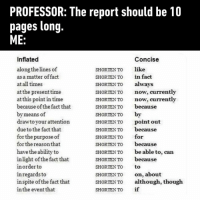 9gag, Dank, and Time: PROFESSOR: The report should be 10  pages long  ME  Concise  like  in fact  always  now, currently  now, currently  because  by  point out  because  for  because  be able to, can  because  to  on, about  although, though  if  Inflated  along the lines of  as a matter of fact  at all times  at the present time  at this point in time  because of the fact that  by means of  drawto your attention  due to the fact that  for the purpose of  for the reason that  have the ability to  inlight of the fact that  in order to  inregards to  in spite of the fact that  in the event that  SHORTEN TO  SHORTEN TO  SHORTEN TO  SHORTENTO  SHORTENTO  SHORTEN To  SHORTEN TO  SHORTEN TO  SHORTEN TO  SHORTEN To  SHORTEN TO  SHORTEN TO  SHORTEN TO  SHORTENTO  SHORTEN TO  SHORTEN To  SHORTEN TO Take this. Thank me later. https://9gag.com/gag/aBxmDnx?ref=fbsc
