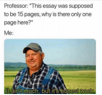 """Funny, Work, and Only One: Professor: """"This essay was supposed  to be 15 pages, why is there only one  page here?""""  Me:  lt ain't much, but it's honest work  0 🙃"""