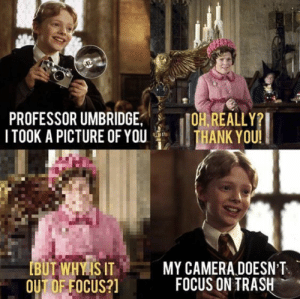 20 Extremely Funny Harry Potter Memes Casting Laughter Spell - Swish Today: PROFESSOR UMBRIDGE  TOOK A PICTURE OF YOU  OH.REALLY  THANK YOU!  MY CAMERA DOESN'T  BUT WHYISIT  OUT DF FOCUS?  FOCUS ON TRASH 20 Extremely Funny Harry Potter Memes Casting Laughter Spell - Swish Today