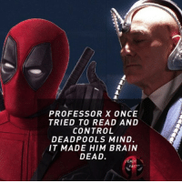Batman, Fac, and Memes: PROFESSOR X ONCE  TRIED TO READ AND  CONTROL  DEADPOOLS MIND.  IT MADE HIM BRAIN  DEAD.  FAC 😄 • • • • Follow @deadpoolfacts for your daily Deadpool dose. deadpool2 ryanreynolds xforce mcu infinitywar batman deadpool marvel