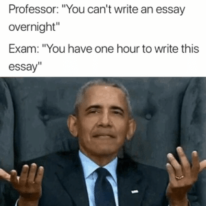 "One, You, and Professor: Professor: ""You can't write an essay  overnight""  Exam: ""You have one hour to write this  essay"" Someone explain this to me 😂"