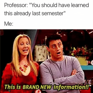 "Information, Brand New, and Brand: Professor: ""You should have learned  this already last semester""  Me:  This is BRAND.NEW information!! Excuse me? 😅"