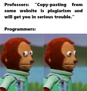 "Stackoverflow vs Wikipedia: Professors: ""Copy-pastingfrom  some website is plagiarism and  will get you in serious trouble.""  Programmers:  @CodeDoesMeme Stackoverflow vs Wikipedia"