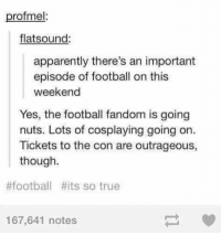 Memes, Outrageous, and 🤖: profmel:  flats (ound:  apparently there's an important  episode of football on this  weekend  Yes, the football fandom is going  nuts. Lots of cosplaying going on.  Tickets to the con are outrageous,  though.  #football #its so true  167,641 notes