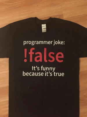 True: programmer joke:  !false  It's funny  because it's true True