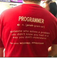 Meaning, Wizard, and Who: PROGRAMMER  n. [proh-gram-er]  meone who solves a problem  vou didn't know you had in a  way you don't understand  See also WIZARD, MAGICIAN Programmer meaning!