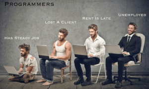 The various states of dress: PROGRAMMERS  UNEMPLOYED  RENT IS LATE  LOST A CLIENT  HAS STEADY JOB The various states of dress