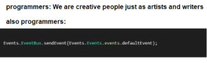 Object reference not set to an instance of an object. at Thesaurus.GetSynonym(): programmers: We are creative people just as artists and writers  also programmers:  sendEvent (Events.Events.events.defaultEvent): Object reference not set to an instance of an object. at Thesaurus.GetSynonym()