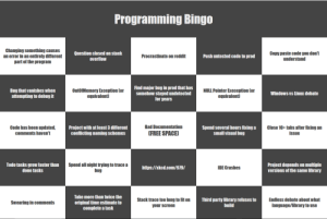 Programming Bingo: Programming Bingo  Changing something causes  an error in an entirely different  part of the program  Question closed on stack  overflow  Copy paste code you don't  understand  Procrastinate on reddit  Push untested code to prod  Find major bug in prod that has  somehow stayed undetected  for years  Bug that vanishes when  attempting to debug it  OutOfMemory Exception Cor  equivalent)  NULL Pointer Exeception Cor  equivalent  Windows vs Linux debate  Bad Documentation  Close 10+ tabs after fixing an  Code has been updated,  comments haven't  Project with at least 3 different  conflicting naming schemes  Spend several hours fixing a  small visual bug  FREE SPACE)  issue  Spend all night trying to trace a  bug  Project depends on multiple  versions of the same library  Todo tasks grow faster than  done tasks  IDE Crashes  http://xkcd.com/979/  Take more than twice the  Endless debate about what  language/library to use  Stack trace too long to fit on  Third party library refuses to  build  Swearing in comments  original time estimate to  complete a task  your screen Programming Bingo