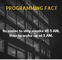 5 Am, Memes, and Programming: PROGRAMMING FACT  Its easier to stay awake till 5 AM,  than to wake up at 5 AM.