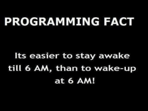 Night owls FTW!: PROGRAMMING FACT  Its easier to stay awake  till 6 AM, than to wake-up  at 6 AM! Night owls FTW!