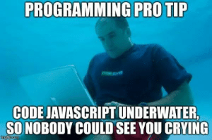 """""""this"""" points to my sadness: PROGRAMMING PRO TIP  CODE JAVASCRIPT UNDERWATER  SO NOBODY COULD SEE YOU CRYING  imgfip.com """"this"""" points to my sadness"""