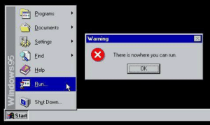 meirl by Bo-nim_bob_ FOLLOW 4 MORE MEMES.: Programs  Documents  Warning  Settings  There is nowhere you can run.  Find  OK  Help  Fun..  Shut Down...  Start  Windows95  X meirl by Bo-nim_bob_ FOLLOW 4 MORE MEMES.