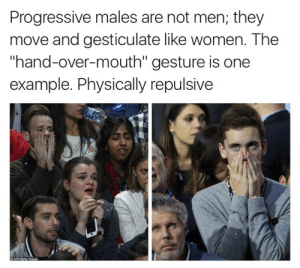 "colorfulcandypainter: stinson-png:  docloudscomeinpurple: conservatives get offended by the weirdest shit  imagine masculinity so fragile that you can't even touch your own face   If you touch a man's face it's Gay. Even your own face. Gay face-touching has infected the youth of America. : Progressive males are not men; they  move and gesticulate like women. The  ""hand-over-mouth"" gesture is one  example. Physically repulsive  C AFP/Getty lmages colorfulcandypainter: stinson-png:  docloudscomeinpurple: conservatives get offended by the weirdest shit  imagine masculinity so fragile that you can't even touch your own face   If you touch a man's face it's Gay. Even your own face. Gay face-touching has infected the youth of America."