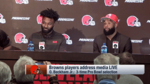 "God, Memes, and Browns: PROGREUIVE  PROBRETIVE  ROGRESIVE  Pl  PROGRES/  RETIVE  Browns players address media LIVE  0. Beckham Jr.: 3-time Pro Bowl selection ""He made me who I am today.""  @obj and @God_Son80 are together again, and it brought Landry to tears. 💯  📺: @nflnetwork https://t.co/kAeNbxVAWa"