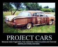 It's an addiction...but we don't care! Car memes: PROJECT CARS  Because clean fingernails, free weekends, intact knuckles and financial  stability are totally overrated. It's an addiction...but we don't care! Car memes