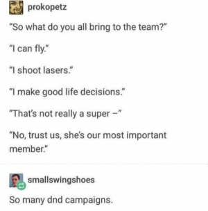 """No Trust: prokopetz  """"So what do you all bring to the team?""""  """"I can fly.""""  """"I shoot lasers.""""  """"I make good life decisions.""""  """"That's not really a super -""""  """"No, trust us, she's our most important  member.""""  smallswingshoes  many dnd campaigns."""